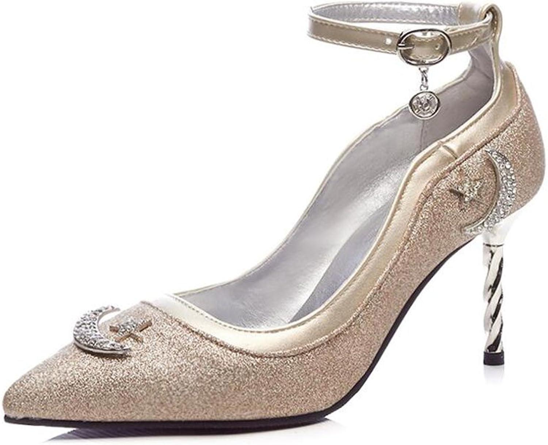 XUERUI Ms High Heels Stilettos Get Together Sexy Beautiful Young Fashion 8cm Heel (color   gold, Size   EU36 UK4 CN36)