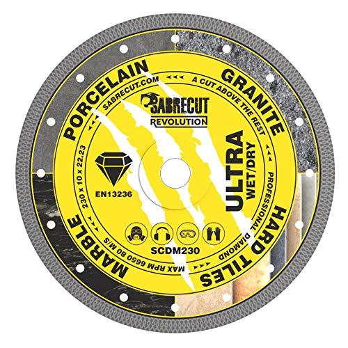 "1 x SabreCut SCDM230 230 mm (9"") x 10 mm x 22,23 mm agujero malla Turbo ángulo amoladora diamante circular hoja para Bosch Dewalt Makita Milwaukee y muchos otros"