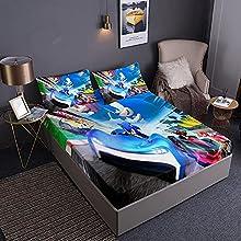 Aatensou Sonic The Hedgehog - Sábana bajera de microfibra con 2 fundas de almohada, lavable totalmente elástica (D5,90 x 200 cm + 80 x 80 cm x 2)