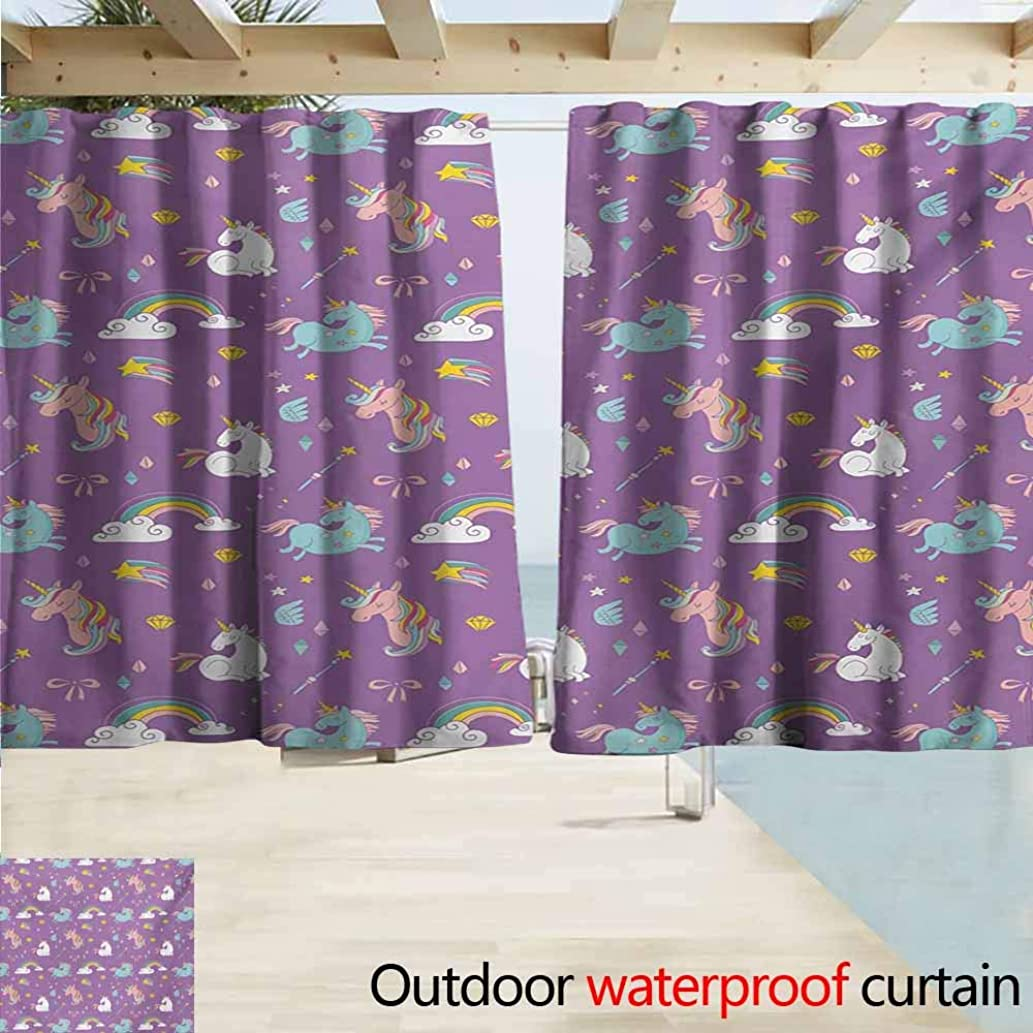 Wlkecgi Magical Indoor/Outdoor Curtains Unicorn and Rainbows Diamonds Wand Pattern Nursery Baby Girl Legendary Creature Print Perfect for Your Patio, Porch, Gazebo, or Pergola W55 xL45 Multi