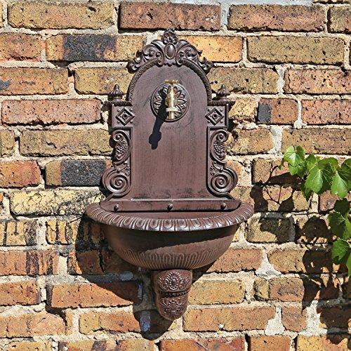 CLGarden Wandbrunnen WB1 im nostalgischen Design Gartenbrunnen Wasserzapfstelle mit Waschbecken