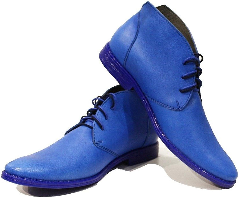 Peppeschuhe Modello Neemia - Handgemachtes Italienisch Bunte Herrenschuhe Lederschuhe Herren Blau Stiefeletten Chukka Stiefel - Rindsleder Weiches Leder - Schnüren