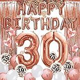 30 Decoraciones de Cumpleaños 30 Años Globos de Cumpleaños de Oro Rosa Globos de Confeti de Látex de Lámina de Oro Rosa Globos de Cumpleaños Número 30 para Mujeres
