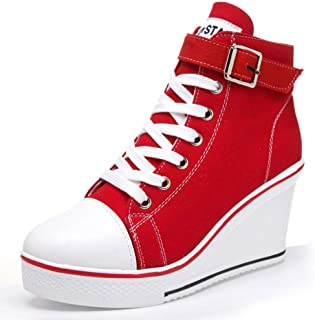 Women High Top Canvas Sneakers Spring Summer Wedges Lace Up Outdoor Walking Shoes Ladies High Heel Casual Sneakers (Color : Red, Size : 6 UK)
