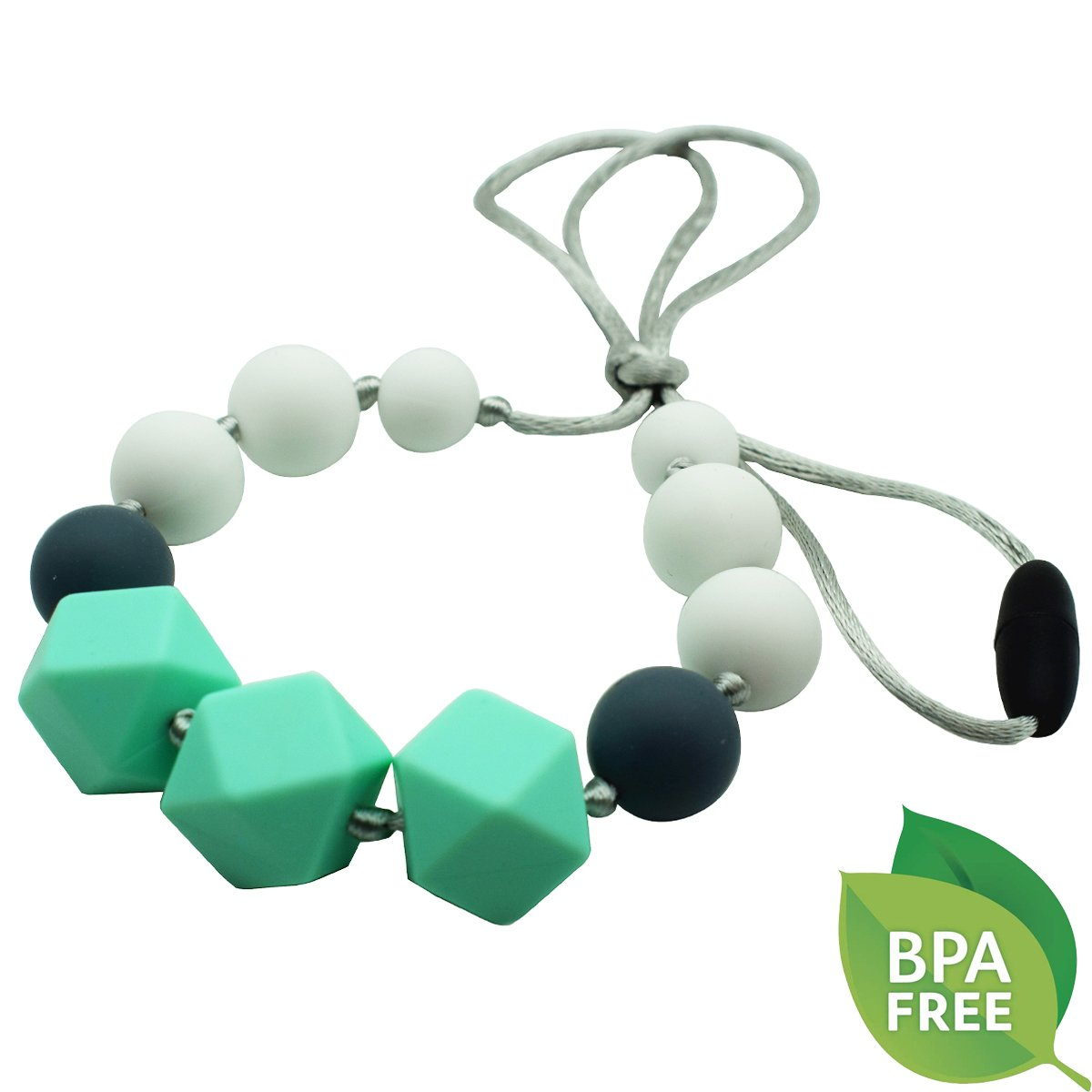 HENGSONG Silicone Teething Necklace for Babies with BPA-Free Beads Gray