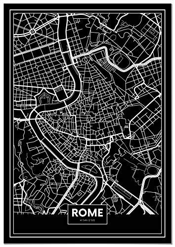 Panorama Tableau Carte Noir Rome 21 x 30 cm - Imprimée sur Toile de Grande qualité - Tableau Ville Noir et Blanc - Tableau Moderne pour la Maison - Af