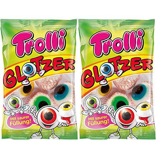 Trolli Glotzer Eyeball Gummies Pack of 2 - Sour Filled Fruit Gum