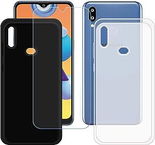 TTJ Svart + genomskinligt skal för Samsung Galaxy M01S + HD pansarglas, mobiltelefonfodral silikon skyddande fodral TPU fo...
