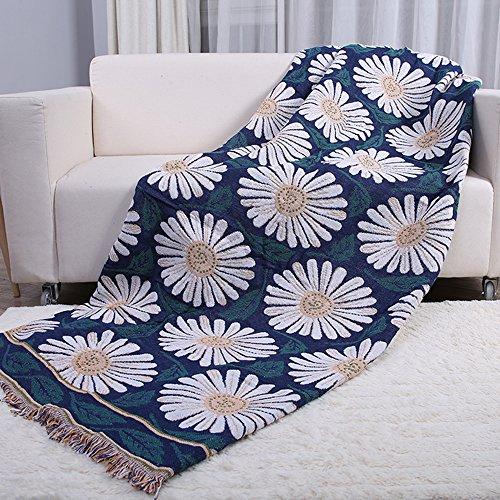 ele ELEOPTION geweven bank gooien deken, dubbelzijdig 100% katoen met franjes gebreide handdoek met decoratieve kwastjes bank bank bed cover tafelkleed