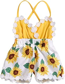 FYMNSI Body para bebé, niña, con diseño de girasol, sin mangas, espalda descubierta, informal, para primer cumpleaños o se...