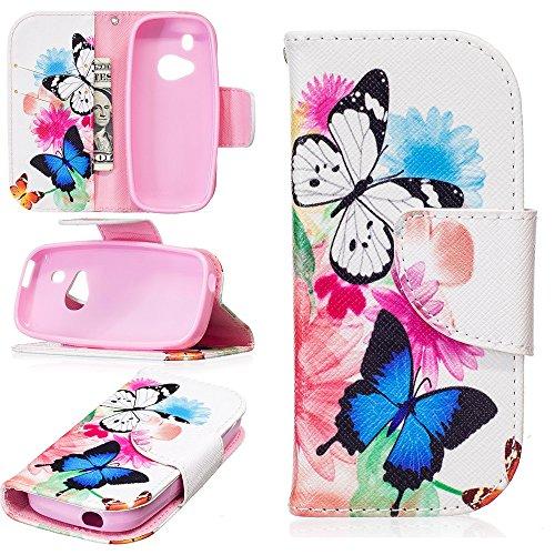 JARNING Compatibile con Nokia 3310 2017 Custodia Cover PU Pelle Pattern Wallet Protettiva Flip Case with Funzione Magnetica Chiusura (Due Farfalle)