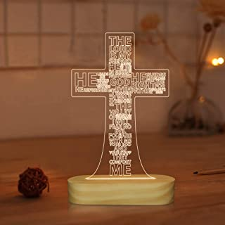 Jesus Cross 3D Night Light Desk Table Lamps,Warm Colors LED Wooden Lighting for Holiday Gifts