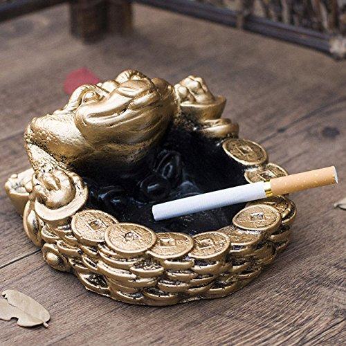 Rentzu Retro Utilidad Hogar Trompeta Ashtrashi Salón Cenicero,Lucky - El Sapo Dorado