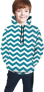 Blue and White Zig-Zag Kids/Teen Girls' Boys' Hoodies,3D Print Pullover Sweatshirts
