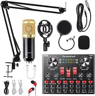 میکروفون خازنی ، کیت میکروفن ALPOWL BM-800 با کارت صدای زنده ، بازوی قیچی تعلیق میکروفون قابل تنظیم ، پایه شوک فلزی و فیلتر پاپ دو لایه برای ضبط استودیو