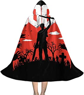 Boomstick Ash Vs Evil Dead Unisex Kids Hooded Cloak Cape Halloween Xmas Party Decoration Role Cosplay Costumes Black