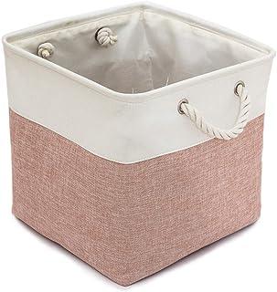 LLSHN Grand panier de rangement pliable en tissu avec poignées en coton pour serviettes, livres, jouets, vêtements 33 x 33...