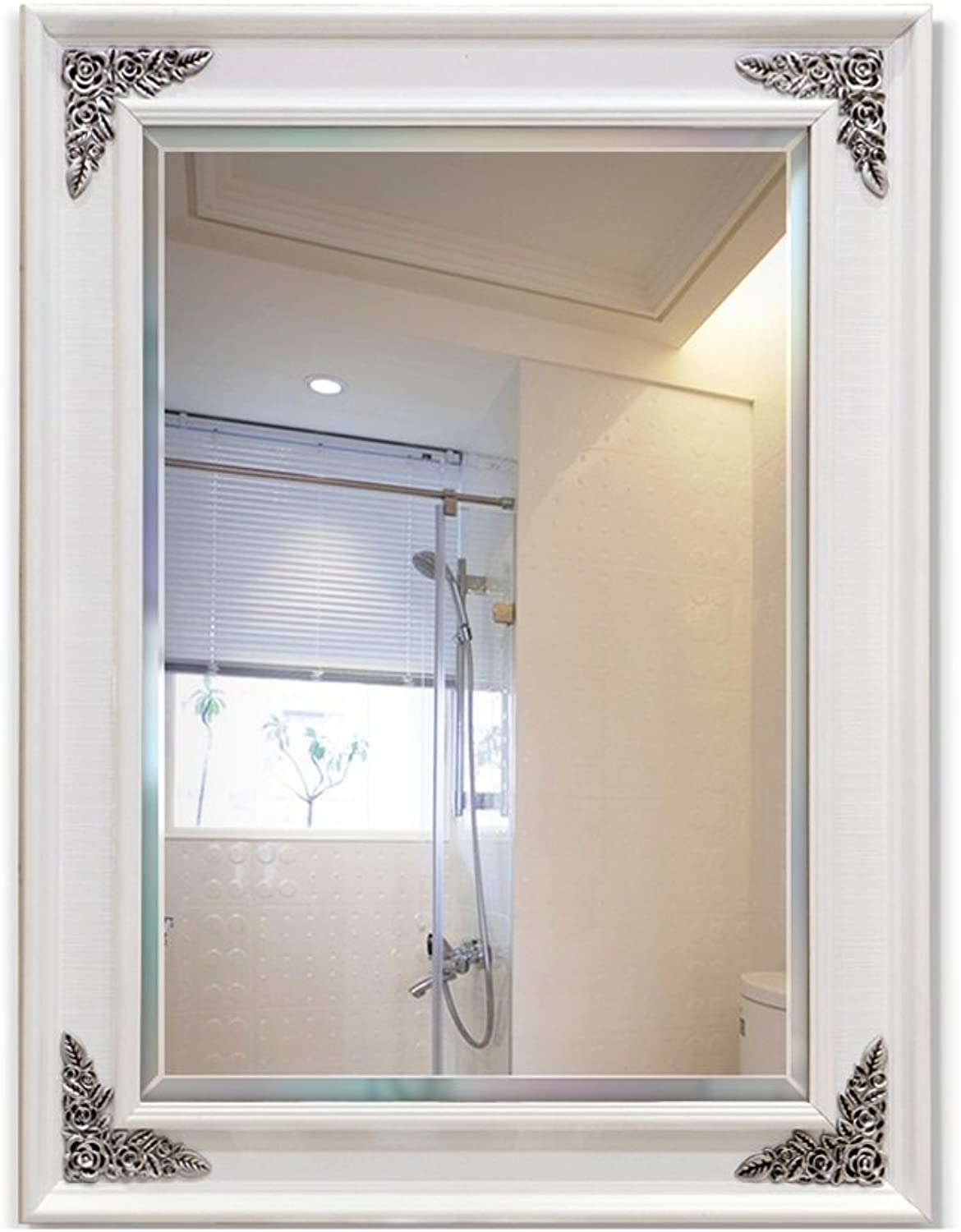 Lxn Wall-Mounted Square Plastic Bathroom Mirror Dressing Mirror Toilet Mirror (Size   50  70CM)