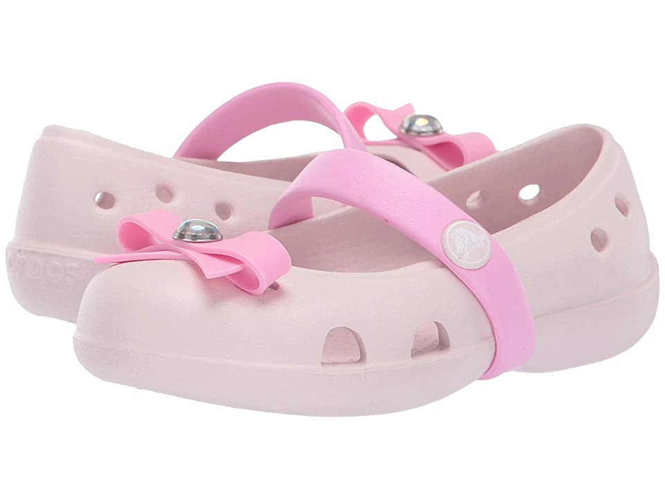 Crocs Kids Keeley Charm Flat (Toddler/Little Kid) (Barely Pink) Girls Shoes
