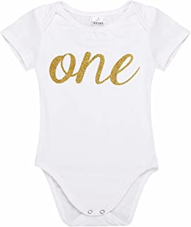 d27349d6 FEESHOW Baby Girls Flutter Sleeves My First 1st Birthday Outfit Romper  Bodysuit Party Dress up Clothes