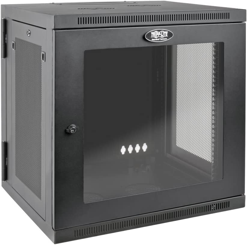 Tripp Lite 12U Wall Mount Rack Enclosure Server Cabinet with Acrylic Glass Door, Hinged Back, 24.5 in. Deep, UPS-Depth (SRW12USDPG),Black
