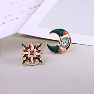 DSJTCH 2020 New Vintage Oil Painting Colorful Graffiti Geometric Triangle Square Moon Sunflower Stud Earrings for Women (M...