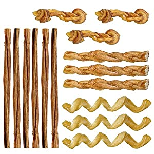 Mini Bully Stick Variety Pack – 15 Low-Odor Bully Sticks for Toy Breeds & Small Dogs, Best Beef Pizzle Stix Dog Treats, & Natural Dental Dog Chews: Straight, Steer, Spring, Braid, & Barbell