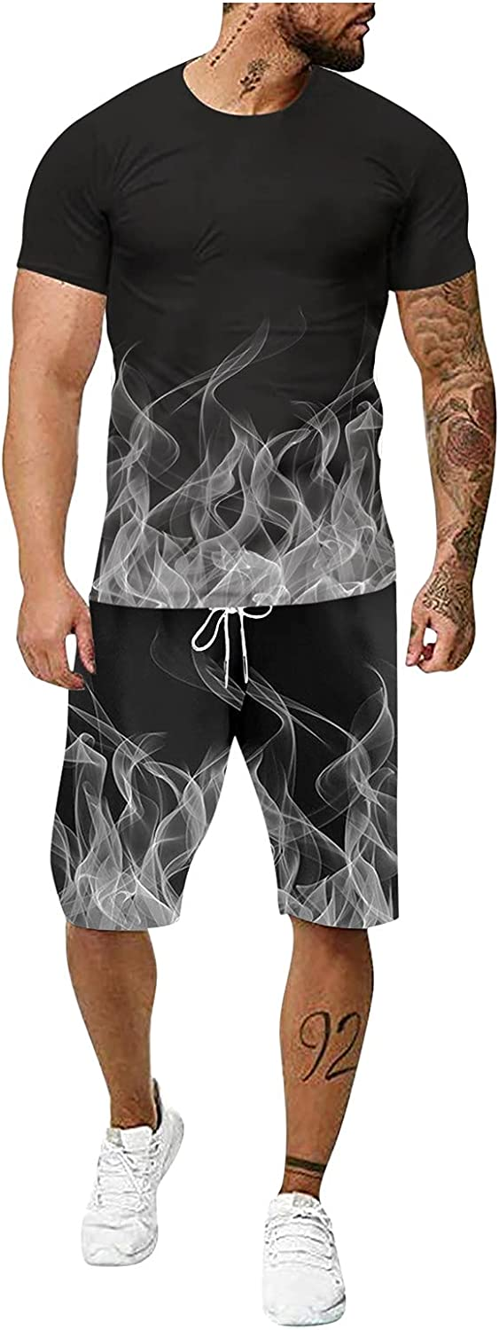 WOCACHI T-shirts and Shorts 2 Piece Set Tracksuit for Mens, Summer 3D inkjet Sports Outfit Sets Fitness Sweatsuits