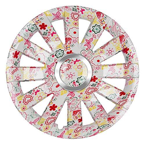 CM DESIGN 15 Zoll Farbige Radzierblenden Onyx FLORALES (Weiss mit Blumen). Radkappen passend für Fast alle OPEL wie z.B. Adam Familie