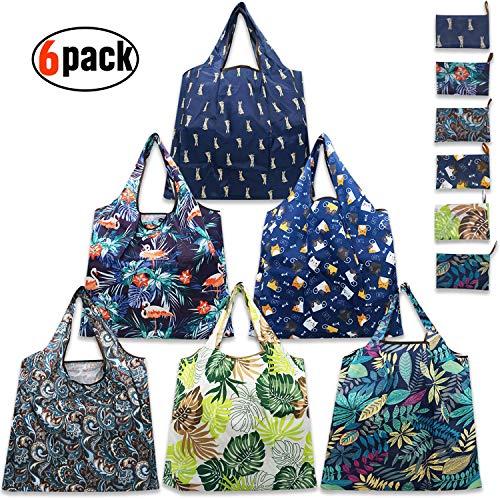 Einkaufstaschen, wiederverwendbar, faltbar, 6 Stück, Einkaufstaschen, 22,6 kg