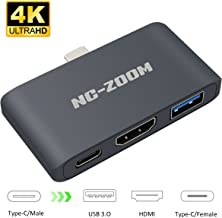 NC-ZOOM USB-C HDMI Adapter for Nintendo Switch,Type C USB to HDMI Converter Dock Cable for Nintendo Switch - Support MacBook Pro (3 in 1-Gray)