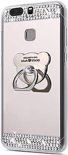 Funda Compatible Huawei P9.KunyFond Carcasa Bear Anillo Soporte Movil Purpurina Brillantes Diamante Bling Colorido Dibujo ...