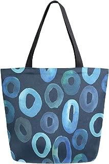 Reusable Grocery Shopping Bag Ocean Seawater Womens Canvas Tote Bags Foldable Shoulder Handbags