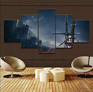 AIXYX 5 Pieces Large Wall Art Home Decor Game The Witcher 3 Wild Hunt Sword Painting Canvas Picture for Living Room Decor-D