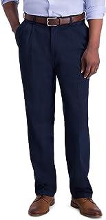 Haggar Men's Iron Free Premium Khaki Classic Fit Pleat Front Expandable Waist Casual Pant