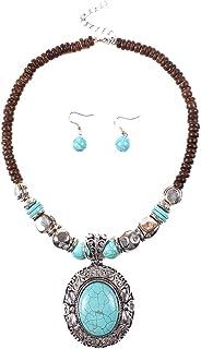 Ubright Boho Juego de collar y pendientes de turquesa con cadena de tallado para mujeres y ni/ñas. Plata