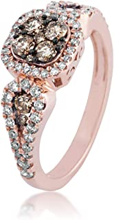 Ladies Mocha and White Diamond Ring in Pink Gold - 68513-13352347