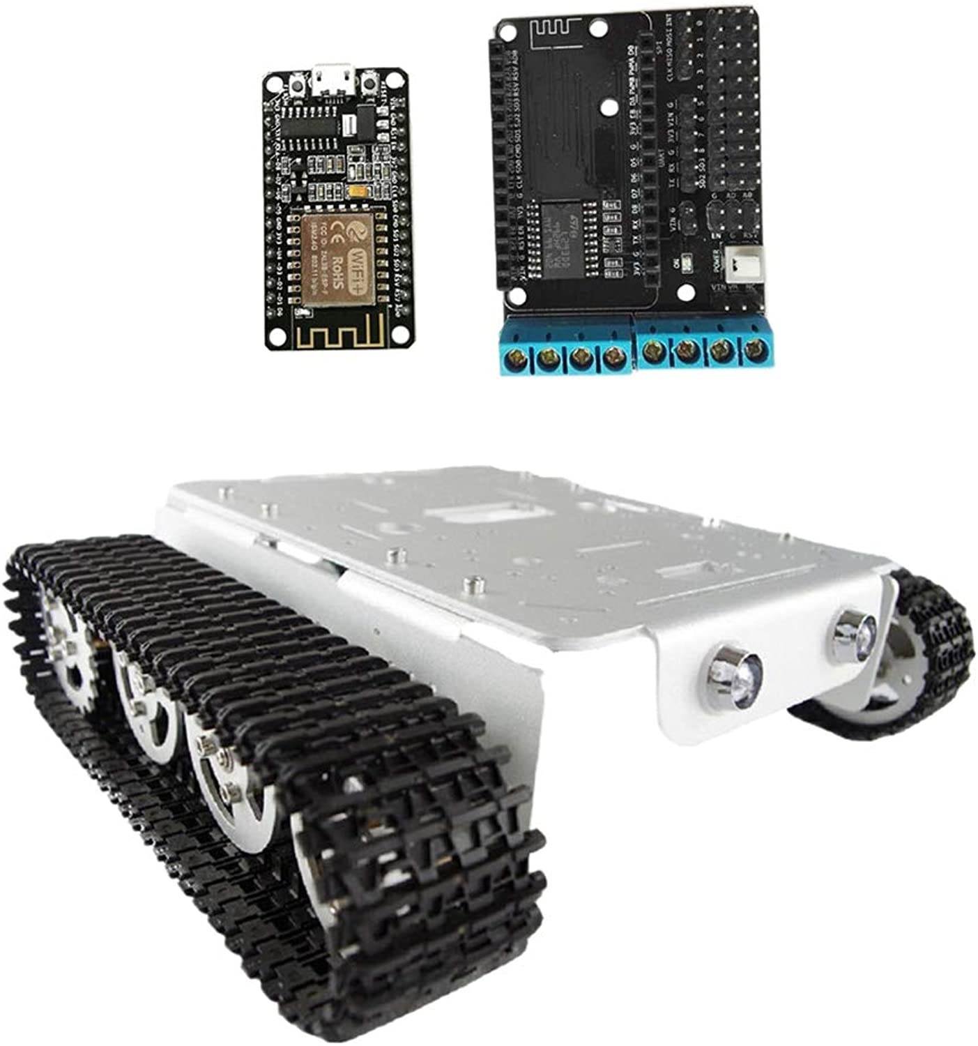 B Blesiya Smart Tank Chassis Remote Control Platform for Arduino DIY  Car   Toy  Silver  Support Local Control and Remote Control