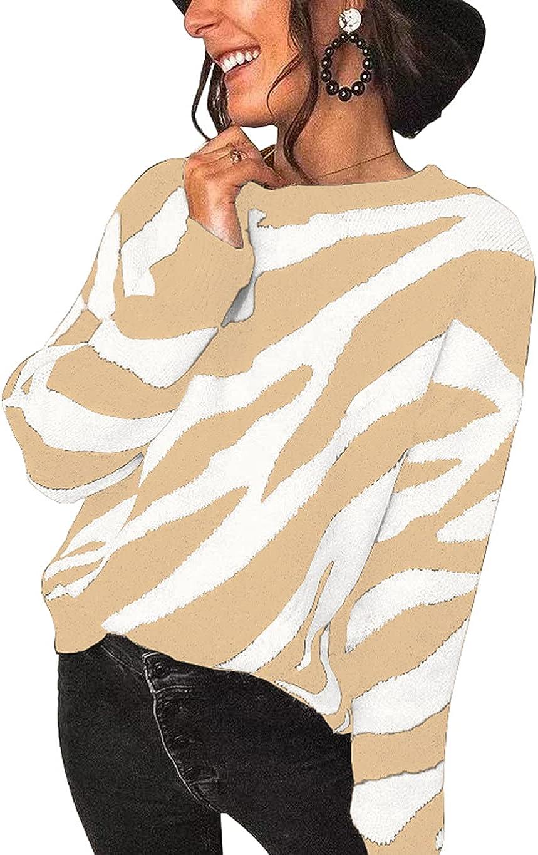 KIRUNDO Women's Sweaters Crew Neck Casual Long Sleeve Sweater Zebra Print Color Block Knit Pullover Sweater Tops