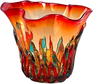 YourMurano Murano Glass Vase, Red and Green with Filaments Details, Made in Italy, Blown Glass, Modern Design, Handmade, 100% Trademark of Origin Guaranteed, Amalfi