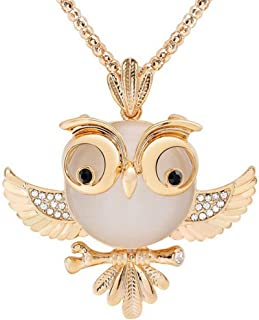 doublelovely Women Sweater Chain Necklace Owl Pendant Necklaces Jewelry Clothing Accessories