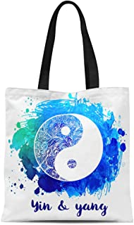 Semtomn Cotton Canvas Tote Bag Yin and Yang Symbol Vintage Alchemy Spirituality Occultism Over Reusable Shoulder Grocery Shopping Bags Handbag Printed