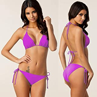 DishyKooker Women Sexy Classic Solid Color Lacing Bikini Purple