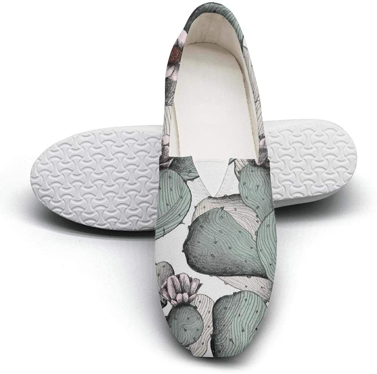 Cactus and flowers Young Women Casual Shoes for womens Low Cut Quick-Drying
