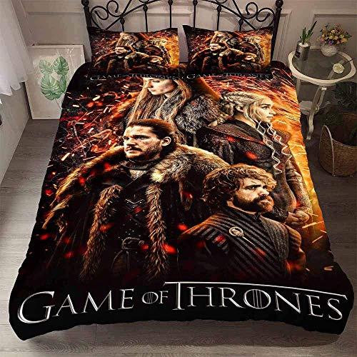 SSIN-Parure da letto Game of Thrones Family Badge – Copripiumino e federa in microfibra, stampa 3D digitale – Copripiumino di Game of Thrones (15,200 x 200 cm)