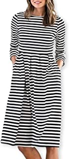 AOOKSMERY Women Casual Cotton Mid Pleat Dress 3/4 Sleeve O-Neck Stripes Dresses with Pocket