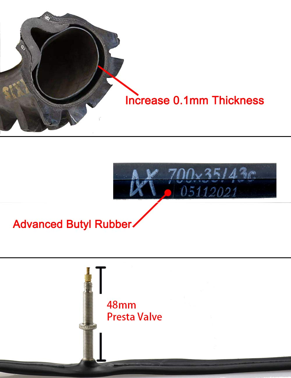DMLNN 28 700x35-43C ロードバイク交換用インナーチューブ プレスタバルブ 48/60/80mm タイヤサイズ 700c x 35 38 40 43 (インナーチューブ6本とタイヤレバー2本付き)