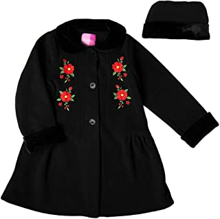 Toddler and 4/6X Black Fleece Coat with Floral Embroideries, Velvet Trim Collar and Cuffs, and Matching Hat
