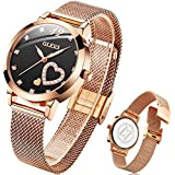 OLEVS Women Rose Gold Watch, Heart Diamond Quartz Waterproof Luxury Thin Watches with Fashion Mesh Strap and Love Set Gifts