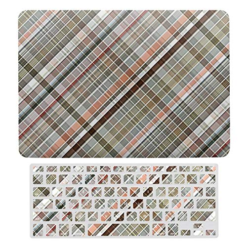 For MacBook New Pro 13 Touch Case, Plastic Hard Shell & Keyboard Cover Compatible with MacBook New Pro 13 Touch, Elegant Trendy Stylish Diagonal Plaid Pattern Laptop Protective Shell Set